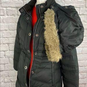 Eddie Bauer Goose Down Hooded Coat Black  XS